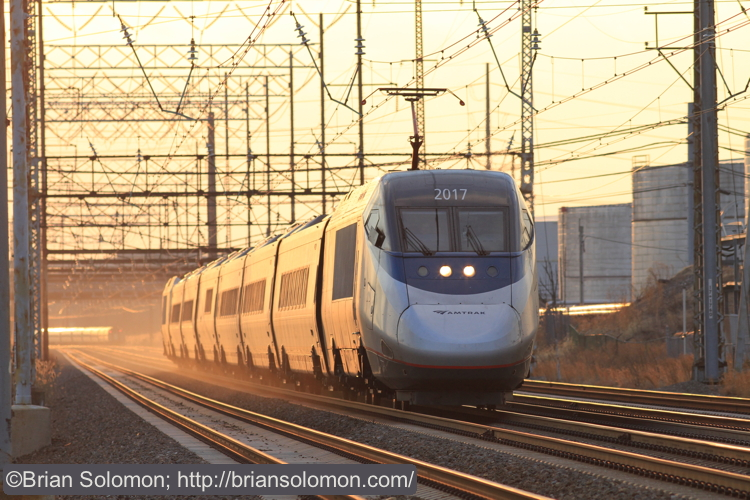 A minute after train 93 passed, this eastward Acela Express was caught burning up the rail, you can still see 95 in the distance. Canon EOS 7D with 200mm lens.