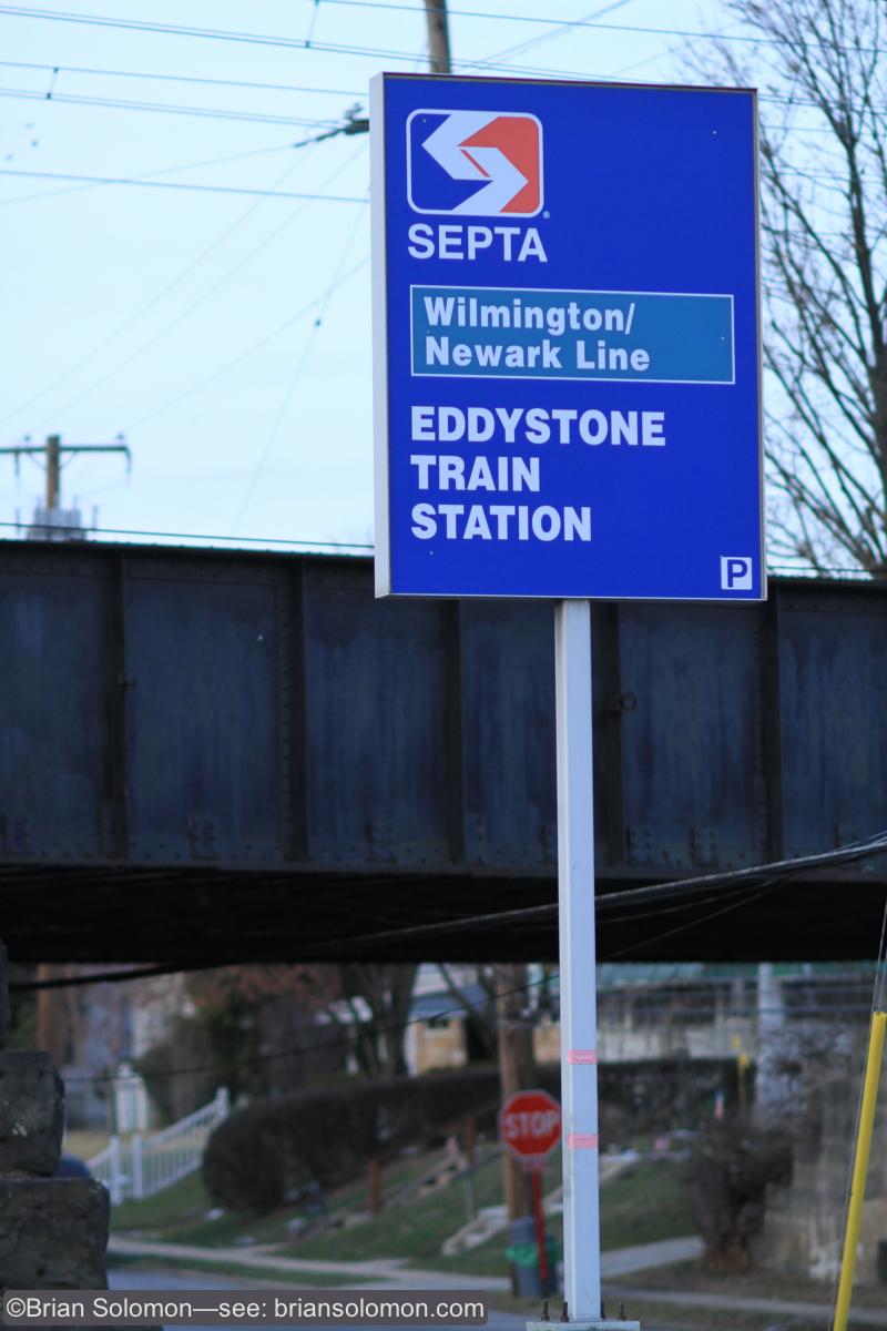 SEPTA Eddystone station sign. January 11, 2015.