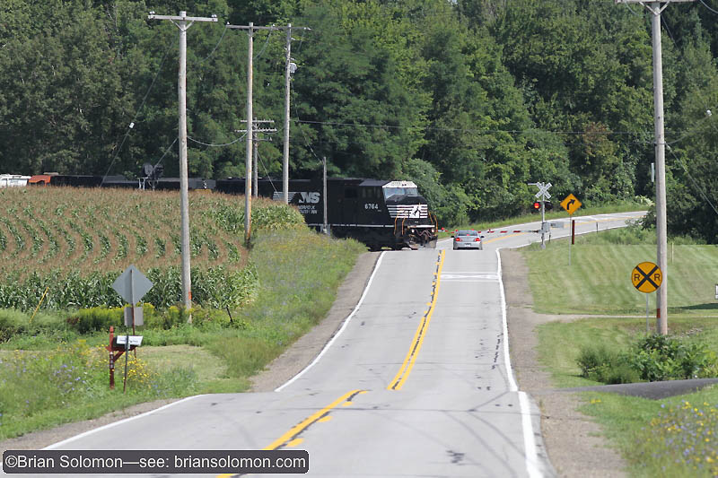 Norfolk Southern M3T plies the old Erie Railroad near Portageville, New York on August 20, 2010. Exposed with a Canon EOS 7D with 200mm lens at ISO 200, f6.3 1/800th of a second. Auto white balance.