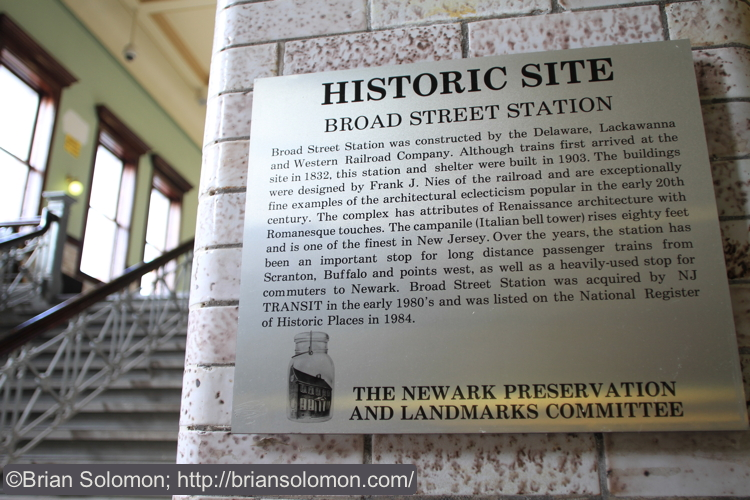 An informative plaque at Broad Street makes for its own caption.