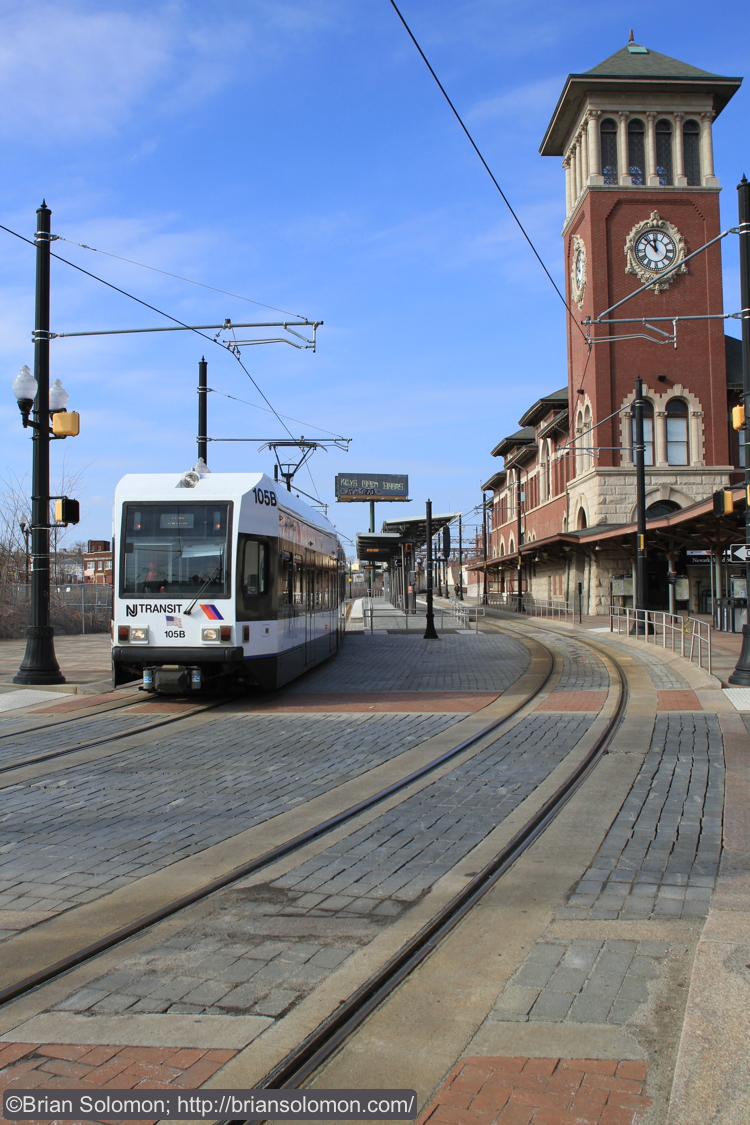 An inbound car departs from Broad Street. The old DL&W station on the right has been restored. Canon EOS 7D with 20mm lens.