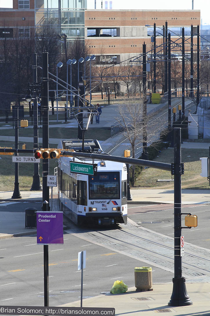 The platforms on the DL&W station offered this view of the new light rail. Canon EOS 7D with 200mm lens.