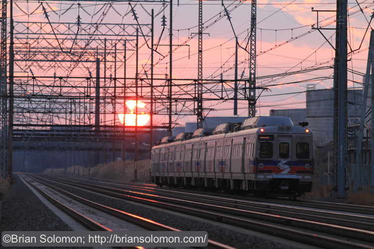 A SEPTA Silverliner V accelerates away from the station at Marcus Hook on its way toward Wilmington, Delaware.