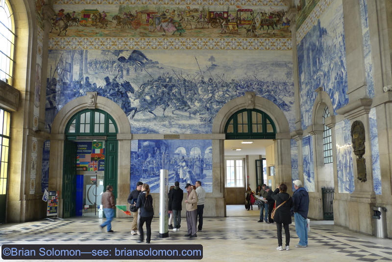 Inside Sao Bento are elaborate murals that make it among one of Europe's most intensely decorated stations.