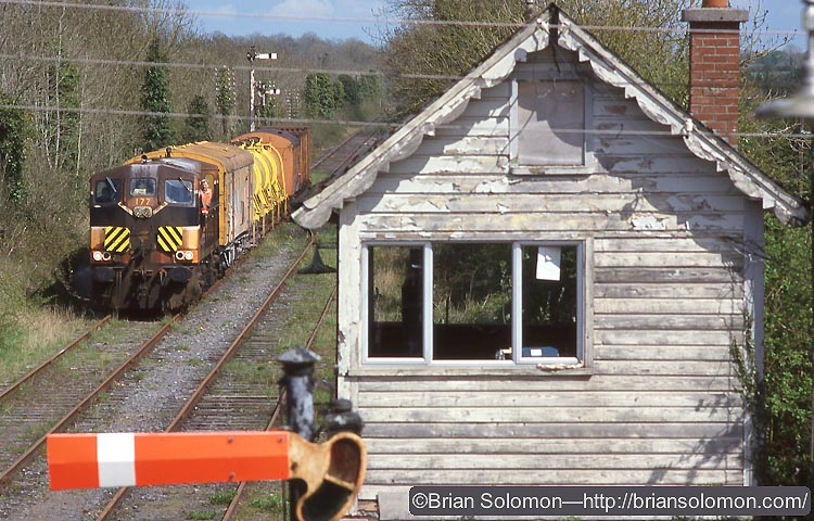 This view of old 177 leading the weedspraying train over the disused Midland Great Western route at Moate is one of many colourful images to be presented.