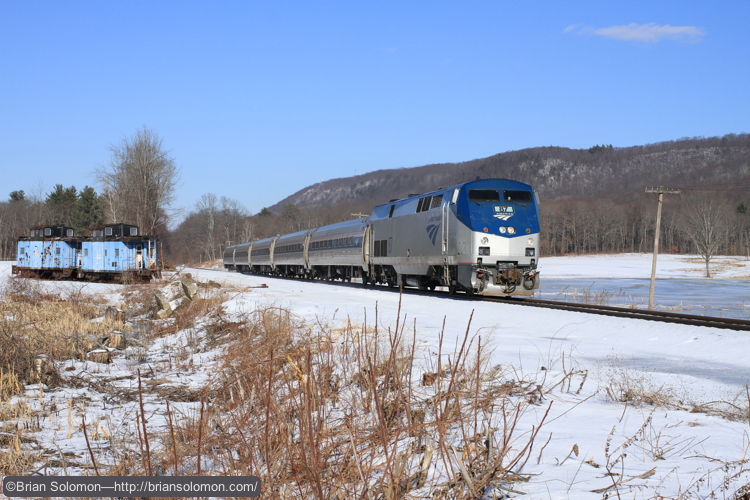 Amtrak train 55 approaches Hillside Road crossing at South Deerfield, Massachusetts. Exposed with a Canon EOS 7D fitted with 40mm pancake lens; f7.1 1/1000 of a second.