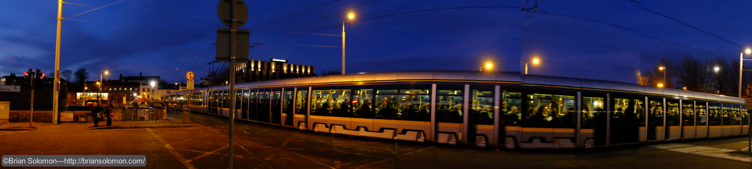 I set the panoramic mode as I panned a LUAS tram arriving at Heuston Station. The effect was this image that appears to be 'the world's longest tram.'