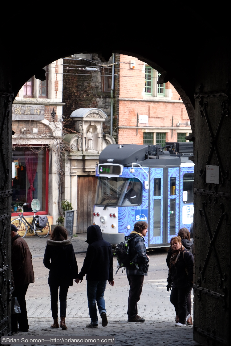 PCC viewed through castle gate. Exposed with a Fuji X-T1.