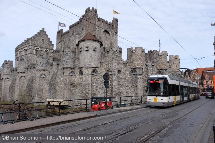 Tram with castle. Exposed with a Fuji X-T1.