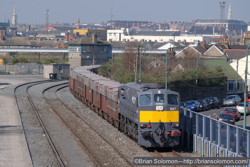 Freshly pained 087 makes its appearance with the laden Tara Mines train from Navan.
