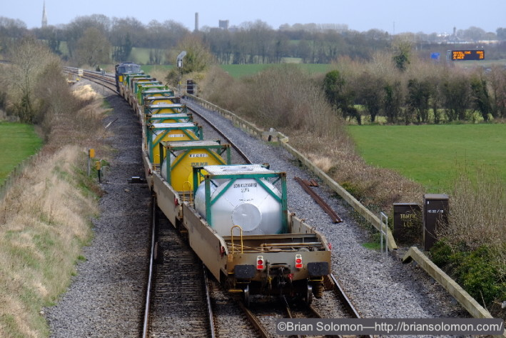 The DFDS Liner with container pocket wagons represents one of the rarest revenue trains in Ireland.