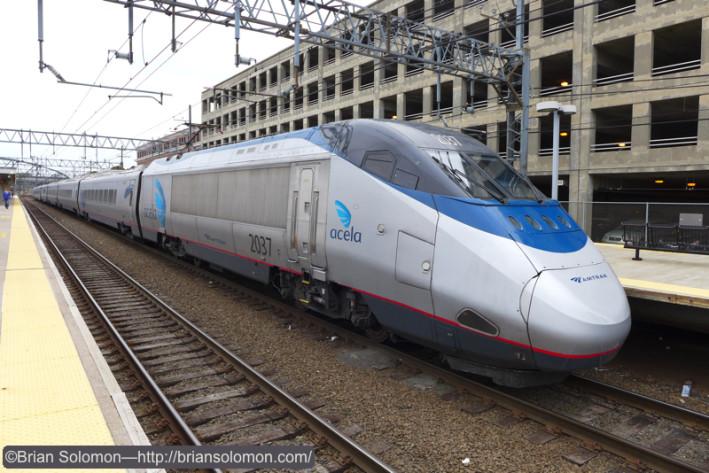 Amtrak Acela Express, train 2235, at New Haven. Lumix LX7 photo.