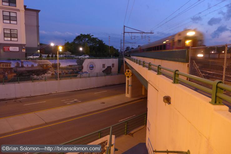 MBTA train 828 arrives at Mansfield. Lumix LX7 photo.