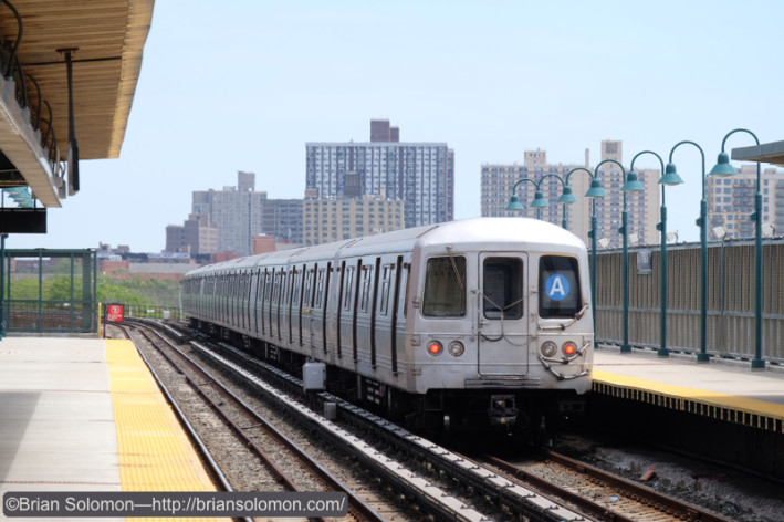 Outbound train as seen from the inbound platform at 44st Street.  Fujifilm X-T1 photo.