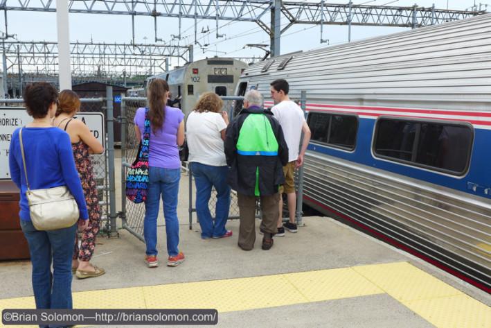 Vermonter passengers watch the New Haven engine change.