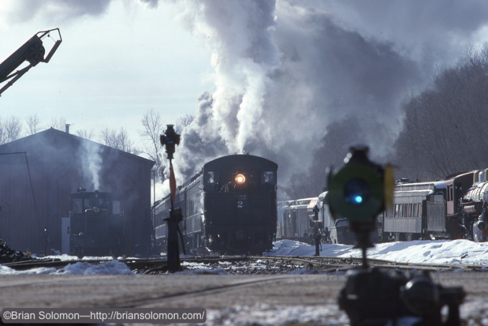 Saginaw Timber number 2 arrives at  the station in North Freedom, Wisconsin on February 18, 1996.