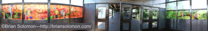 NYCTA Station at Far Rockaway is decorated with colored glass. Panoramic composite exposed with Fujifilm X-T1.