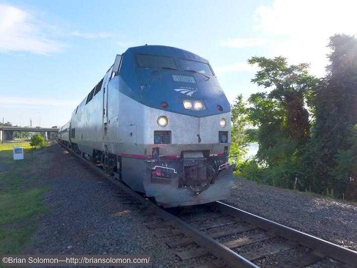 Amtrak 495 arriving at Windsor Locks on June 25, 2015. Lumix photo.