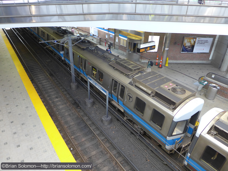 Blue Line train at Airport Station.